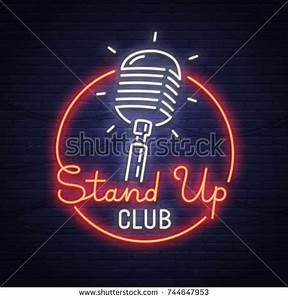 Stand Sing City Sign Neon Logo Stock Vector