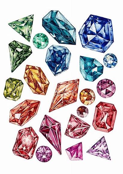 Watercolor Gems Gemstones Behance Project