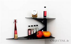 Etagere Angle Cuisine : etag re murale d 39 angle noire fixation invisible tablette d 39 angle ~ Teatrodelosmanantiales.com Idées de Décoration
