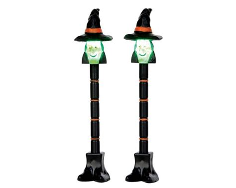 battery operated l post lemax spooky town witch l post set of 2 battery