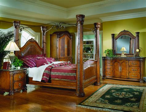 warm cherry finish royal post canopy bed woptional case pieces