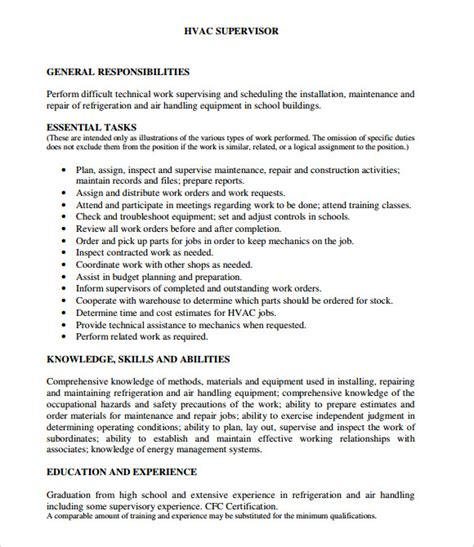 Hvac Installer Resume Exles by Hvac Resume 8 Free Sles Exles Format