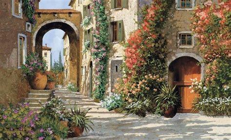 italian street tuscany tuscan breezeway  wallpaper wall decor   tuscan sun tuscan