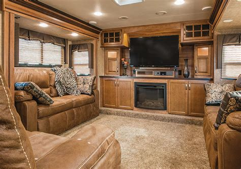 fireplace ideas with tv the trend in fifth wheels brings the lounge