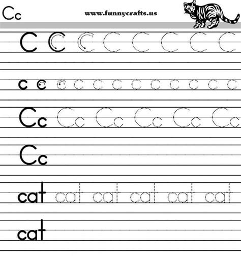 letter c handwriting worksheets for preschool to