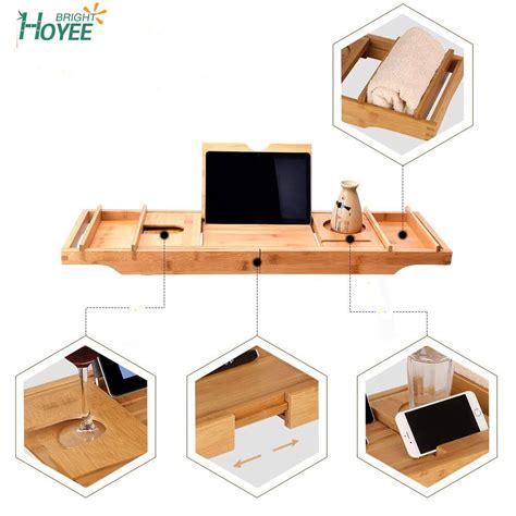factory extra large bamboo bathtub tray bamboo bathroom organizer  expandable sides holder
