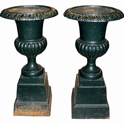 Victorian Iron Urn Pair Painted Bases Urns