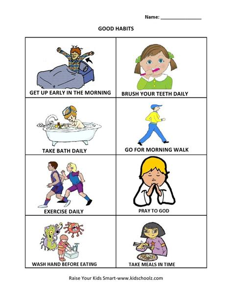 grade  good habits worksheet healthy habits  kids