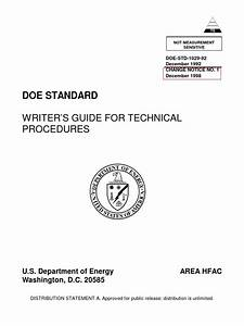Doe Writer U2019s Guide For Technical Procedures Doe