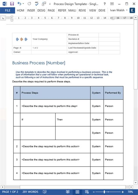 business process template process design templates ms word excel visio
