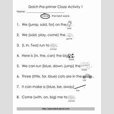 Free Dolch Preprimer Through Thirdgrade Cloze Worksheets