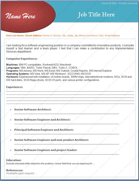 Experienced Software Engineer Resume Format by Experienced Software Engineers Resume Format Dotxes