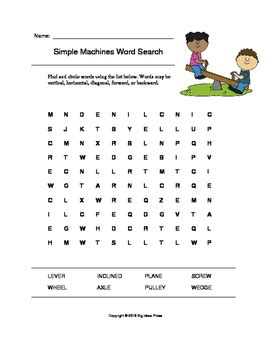 simple machines word search grades 1 3 by big ideas