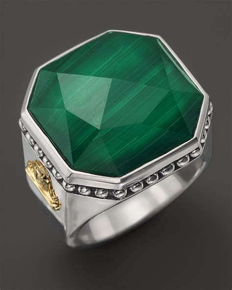 lagos sterling silver malachite color rocks ring  metallic lyst