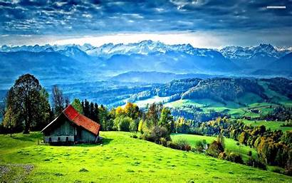 Hill Wallpapers Station Nature Mountain Houses Forest