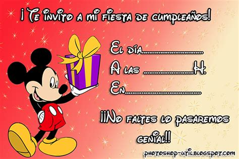 Invitaciones cumple Mickey mouse