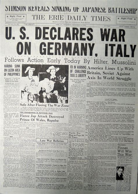 this front page is dated december 11 1941 shows the erie daily times coverage of the