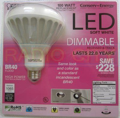 feit electric conserv energy dimmable br40 led 17 watt
