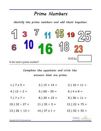Prime Numbers Math Worksheet