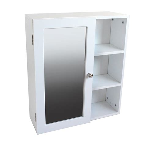 Single Mirrored Door Bathroom Wall Cabinet With 3 Shelves
