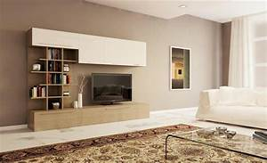 Parete soggiorno moderna con libreria design L 270 cm larice grigio e laccato lucido vari colori