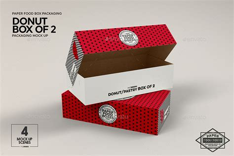 We have tracked down some of the best free food packaging mockups for your projects. Box of 2 Donut / Pastry Box Packaging Mockup (With images ...