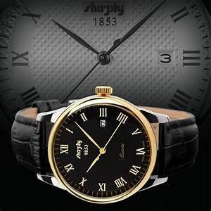Bracelet Homme Marque Italienne : sharphy montre homme marque de luxe 1853 bracelet en cuir quartz watch tanche noir dor montres ~ Dode.kayakingforconservation.com Idées de Décoration