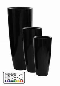 Cache Pot Noir : cache pot cylindrique haut en fibre de verre rev tement en gel noir moyen hauteur 100 cm x ~ Teatrodelosmanantiales.com Idées de Décoration
