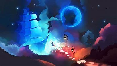 Sky Ship Wide Colors Night Background Tablet