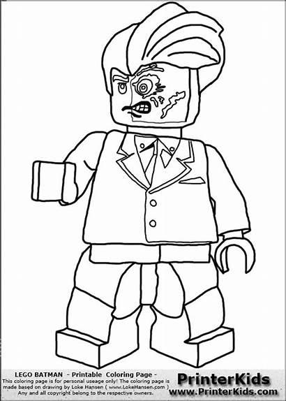 Lego Coloring Batman Printable Face Villians Dc