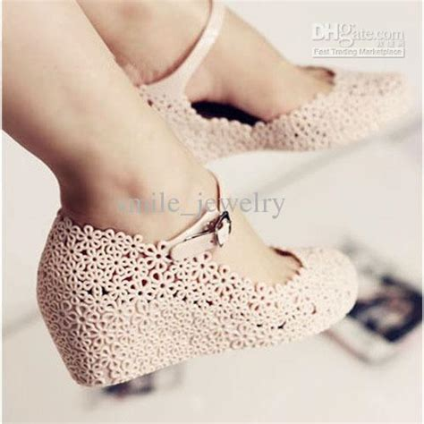 jelly shoes flower cutout sandals elevator sandals