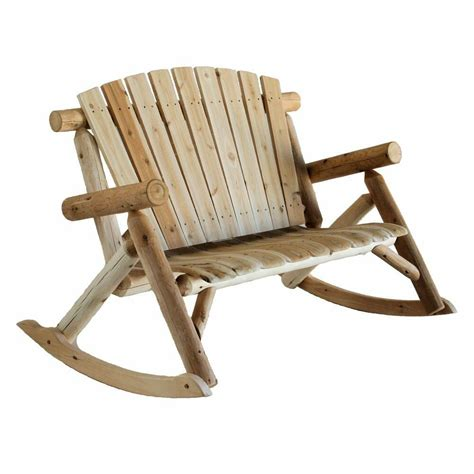 Porch Rocking Chair Plans by Cedar Log Rocking Loveseat Bench Rustic Patio Furniture