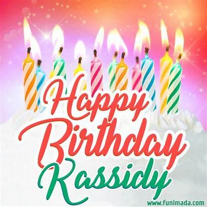 Kassidy Birthday Happy Lit Candles Cake Funimada