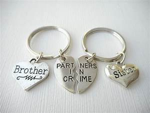 2 partners in crime brother sister best friend keychains With best wedding gift for brother