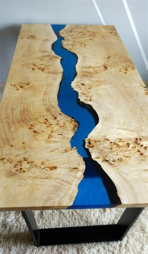 blue epoxy river walnut coffee table   products