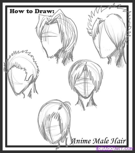 draw male hair styles step  step anime hair