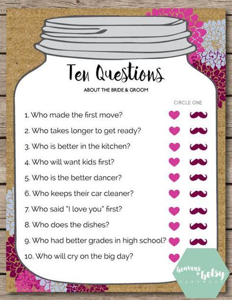 wedding shower questions jar ten questions bridal shower wedding