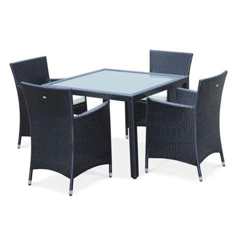 conjunto mesa  sillas de jardin negro crudo  plazas de