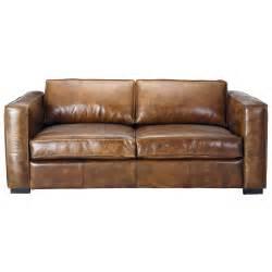 sofa ausklappbar ausziehbares 3 sitzer sofa aus leder braun antik berlin berlin maisons du monde