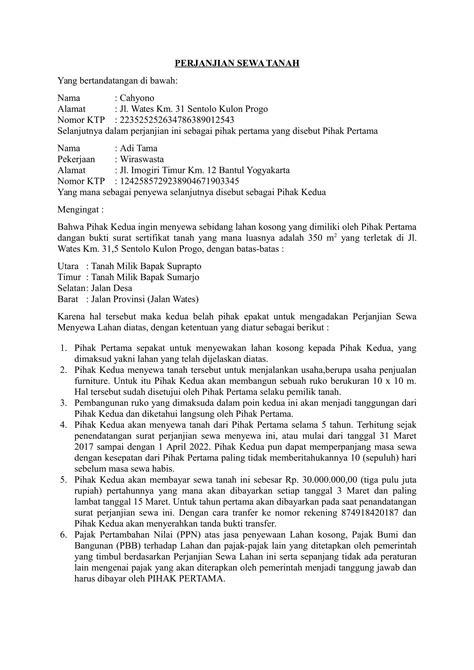 contoh surat perjanjian sewa tanah rocket manajemen