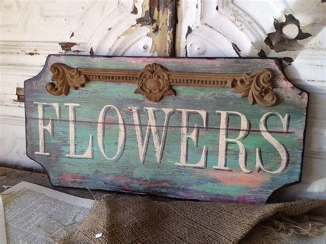 cottage chic store flower shop wooden sign shabby cottage chic wall