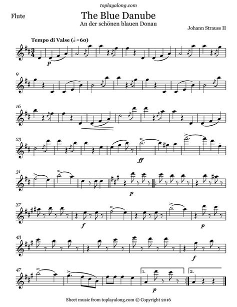 the blue danube waltz by strauss free sheet music for
