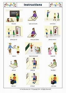 Classroom Instruction And Commands Flashcards For Kids