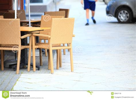outdoor restaurant cafe chairs with table royalty free