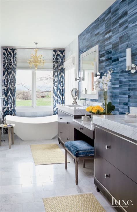 wall tiles bathroom ideas eclectic white bathroom with blue tile accent wall