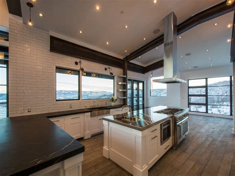 Sloped Kitchen Ceiling With Wood Beams Design Ideas