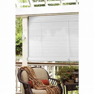 Lewis Hyman White Faux Bamboo Outdoor Roll Up Patio Shade - Free Shipping Today