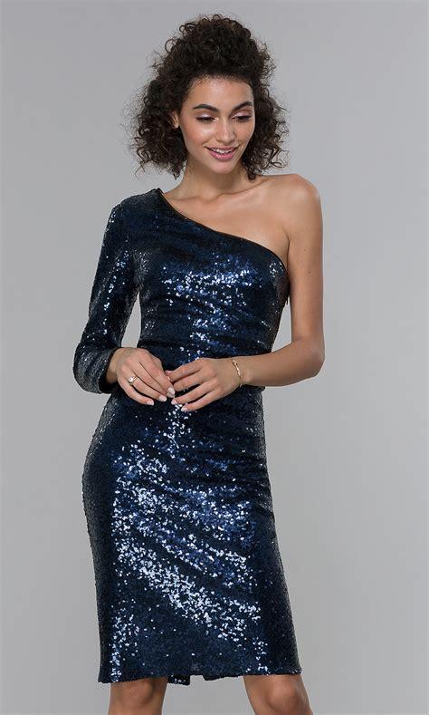 shoulder short navy blue sequin cocktail dress