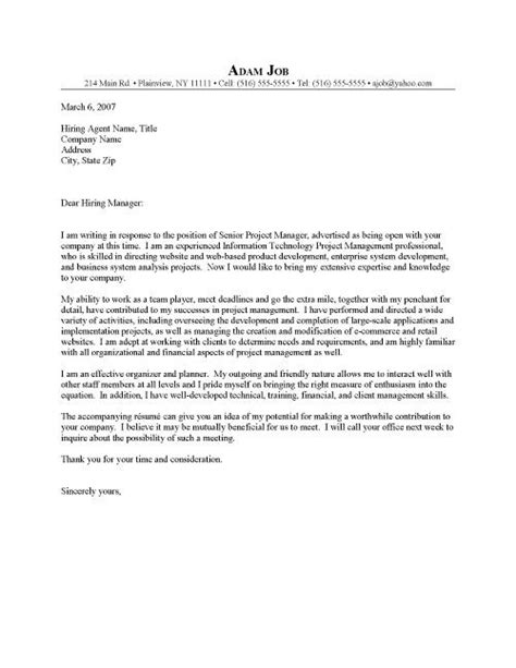 Cover Letter Project by It Cover Letters Project Manager It Cover Letter