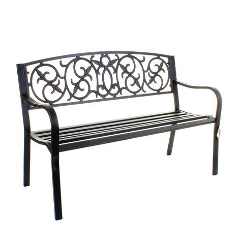 garden metal bench 3 seater cast iron backrest outdoor